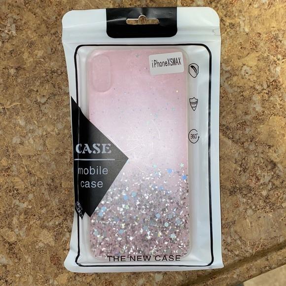 Pink iPhone X max glitter case